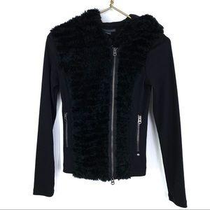 Armani Exchange Black Fur Asymmetrical Zip Hoodie